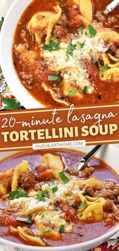 Whip up a big pot of this 20-Minute Lasagna Tortellini Soup for dinner! This stovetop recipe features some shortcut ingredients. Made with ground beef, herbs, and Parmesan in a marinara-based broth, this quick and easy comfort food is perfect for cold weather! Thanksgiving Dinner Recipes, Italian Dinner Recipes, Quick Dinner Recipes, Stove Top Recipes, Meat Recipes, Real Food Recipes, Dessert Recipes, Easy Delicious Recipes, Simple Recipes