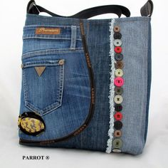 Handcrafted leather handbags were obviously the very first leather bags to come out. Today, these bags differ so much in style that the possibilities appear limitless. Redone Denim, Hippie Chic Outfits, Harley Shirts, Jean Purses, Denim Handbags, Diy Jeans, Denim Purse, Denim Ideas, Diy Handbag