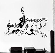 Wall Sticker Guitar Sheet Music Cool Living Room Decor Vinyl Decal (ig1228)