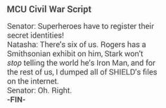 Even though the Civil War movie adaptation will be altered, I still find this hilarious :)