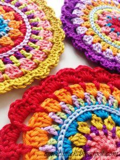 crochet mandala coasters, great colours!