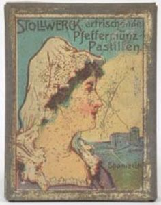 Stollwerck peppermint pastille tin with girl in Spanish national dress