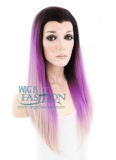 """24"""" Long Straight Purple Mixed Light Pink with Dark Roots Ombre Lace F 