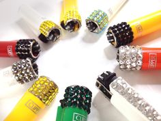 Clipper Lighters with Various Coloured Crystals
