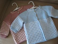 Crochet Pink Rose White Girl Sweater. 0-6 Months in Tunisian