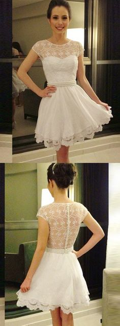 A-Line Dresses,Short White Homecoming Dresses,Lace Pearls Dresses,Homecoming Dresses 2017