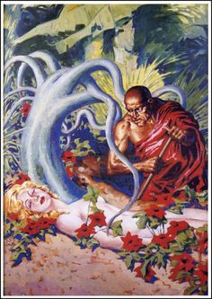 """virgilfinlay: """" Original painting for Weird Tales, April 1938 Not quite as smooth as his later work, but the composition is already there. Makes you wonder how much guidance he got from his editors. Did they send him a story synopsis, or just tell..."""