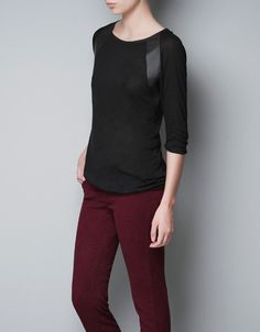 T-SHIRT WITH FAUX LEATHER APPLIQUÉ - T-shirts - TRF - ZARA United States