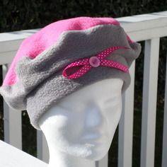 Bonnet chapeau béret lin'eva créateur polaire gris et rose enfant confortable unique hiver