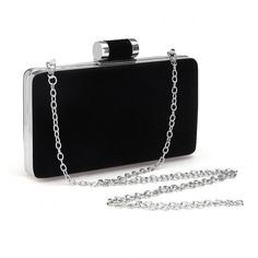 Yoins Velvet Box Clutch Bag in Black ($23) ❤ liked on Polyvore featuring bags, handbags, clutches, bolsas, box clutch, clasp purse, chain purse, hardcase clutch and velvet purse