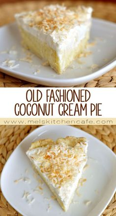 Apple Discover Old-Fashioned Coconut Cream Pie - Mels Kitchen Cafe Classic coconut cream pie. Really there may not be a better pie-for-all-occasions. Coconut Desserts, Coconut Recipes, Just Desserts, Baking Recipes, Delicious Desserts, Yummy Food, Pie Dessert, Dessert Recipes, Good Pie
