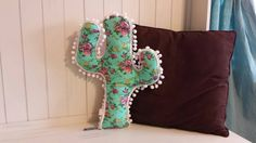 Saguaro Cactus Pillow MINT FLORAL by PricklyPearLaneBaby on Etsy