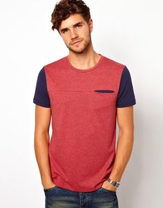 Image 1 ofASOS T-Shirt With Contrast Sleeve And Pocket Detail