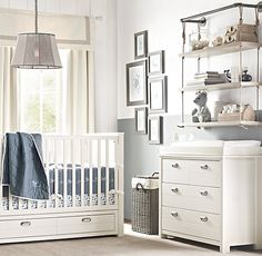 Industrial Pipe & Rope Shelf above changing table...very useful and convenient!! Restoration Hardware Baby & Child