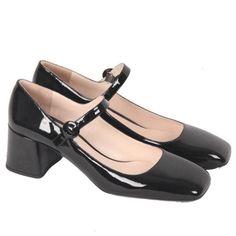 PRADA Black Patent Leather MARY JANE PUMPS Shoes