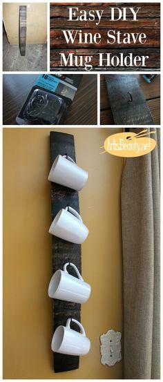 ART IS BEAUTY: EASY DIY Recycled Wine Barrel Stave Coffee Mug Holder