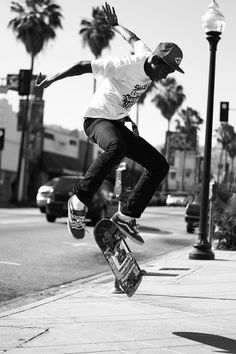 Tyler the creating skating showing off his tricks in the streets of LA very good shot I love it.