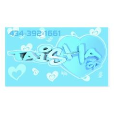 This design can be personalized with 2 names and 2 colors. Price include personalization. #business #blue #cute #heart #urban #cards #businesscards