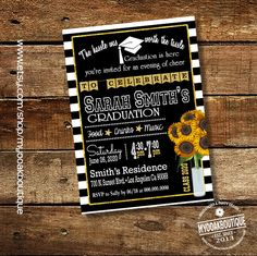 Graduation invitation stripes blank white gold sunflowers graduation celebration party invite chalkboard digital printable invitation 14080 by myooakboutique on Etsy https://www.etsy.com/listing/268801564/graduation-invitation-stripes-blank