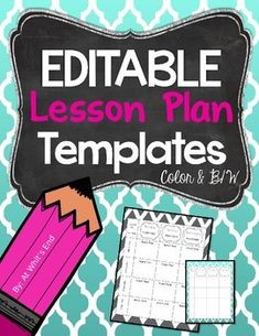 FREE Editable Lesson Plan Template   Lesson Plan Ideas   Pinterest     EDITABLE Lesson Plan Templates  Beginning of Year