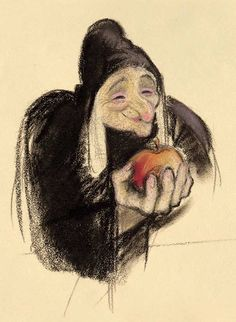"""Concept art of the Evil Queen Grimhilde transformed into the Old Hag from Disney's """"Snow White and the Seven Dwarfs"""""""