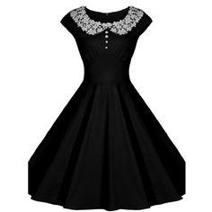 Fashion Lace Collar Short Sleeve Slim A-Line Knee-Length Dress