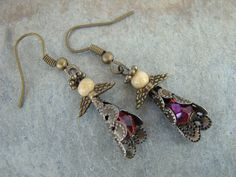 Free Shipping! Christmas Bronze Handmade Angel Earrings Jasper Stone Fire by Sewartzee, $9.00