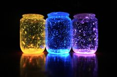 glowing jam jars