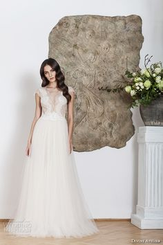 divine atelier 2016 bridal gowns cap sleeves deep v neckline lace bodice tulle skirt romantic a line wedding dress v back brush train (melissa) mv    -- Divine Atelier 2016 Wedding Dresses