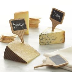 Free Shipping.  Shop Set of 6 Chalkboard Cheese Markers.  Jot down cheese selections on these handsome wood markers designed by Carter McGuyer.
