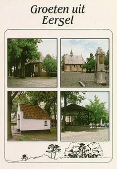 Eersel, collage van vier foto's: (1) Nederlands Hervormde Kerk, (2) kapel met pomp op de Markt, (3) kapel, (4) kiosk Boek- en kantoorboekhandel Huybregts BV (drukker); Jos Pé (uitgever) - 1990