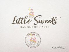 Handdrawn cupcake logo Circle watermark Stamp by KristinARTdesign