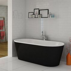 Windsor Imperial Black 1690 x 790mm Double Ended Freestanding Bath
