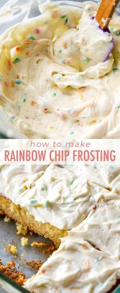 How to make sweet and creamy homemade rainbow chip frosting! Tastes even better than the real stuff. Canned Frosting, Homemade Frosting, Frosting Recipes, Just Desserts, Delicious Desserts, Dessert Recipes, Cheesecake Recipes, Rainbow Chip Frosting, Rainbow Frosting