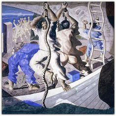 Descobrimento (1941) Candido Portinari   Pinta, em 1941, os painéis para a Library of Congress [Biblioteca do Congresso] em Washington D.C. (Estados Unidos), com temas da história do Brasil.   http://sergiozeiger.tumblr.com/post/106409060908/candido-portinari-brodowski-29-de-dezembro-de