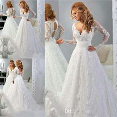 Couture Long Sleeve Wedding Dresses For 2015 Arabic Muslim Brides White Vintage Lace A Line Vestidos De Novia Lace Bridal Gowns from Ilovewedding,$209.43 | DHgate.com