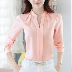 Spring Autumn Women Tops Long Sleeve Casual Chiffon Blouse Female V-Neck Work We. Spring Autumn Women Tops Long Sleeve Casual Chiffon Blouse Female V-Neck Work Wear Solid Color White Office Shirts F Cheap Womens Tops, Office Outfits Women, The Office Shirts, Office Wear, Outfit Office, Casual Office, Office Uniform, Outfit Work, Outfit Ideas