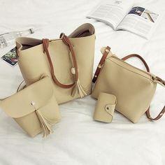 4Pcs/Set Women Faux Leather Handbags