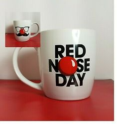 Red Nose Day Coffee Cup White Novelty Tea Mug 14 oz Red Nose Day, Christmas Train, White Brand, Tea Mugs, Mug Cup, Stoneware, Coffee Cups, Red And White, Pottery