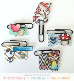 Altered paper clips created by designer Samantha Mann using the Sweet Stamp Shop Unicorn, Girl Power, Perfect Panda and Mush Day stamp sets