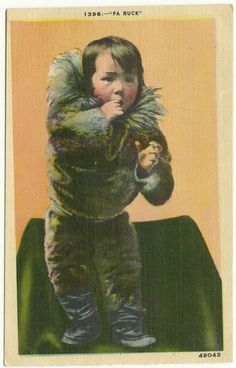 Native American Toddler Child Postcard Possibly Alaskan http://www