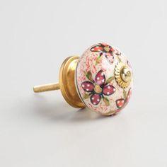 Pink and Gold Ceramic Knobs Set of 2 - v2