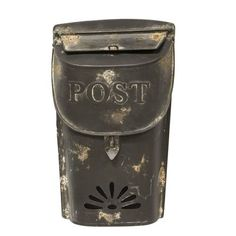 Small Black Post Box has a rustic, metal charm perfect for any display from holiday to everyday. The lid and mail slot are both functional and there is a cutout at the bottom of the box. Can easily be hung. Wall Mount Mailbox, Mounted Mailbox, Hot Wheels, Black Mailbox, Painted Fox Home, Vintage Mailbox, Cars 1, Country Primitive, Country Farmhouse