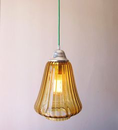 XL Mid Century Modern Vintage amber glass pendant light / Hand blown Fluted lamp / New fabric cord Choose the color! / Industrial Loft Retro
