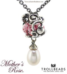 trollbead rose pearl fantasy necklace