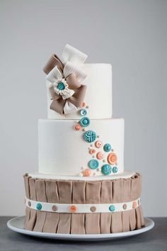 Ribbons  Buttons Themed Cake