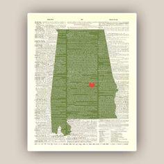 Alabama art Alabama state map AMERICAN old by DigiMarthe on Etsy, $25.00
