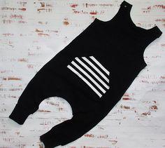 Black harem romper / monochrome harem romper / monochrome onesie / monochrome baby clothes