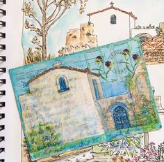 """Kerkyra"" Altered Postcard Painting, Mixed Media, 14cm x 10cmby artist Gill Tomlinson. See her portfolio by visiting www.ArtsyShark.com"