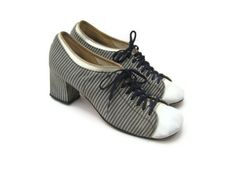 Blue and White Striped Block Heel Sneakers